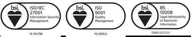 Cleardata Document Scanning Service is Accredited to BS 10008:2014, ISO9001 and ISO27001