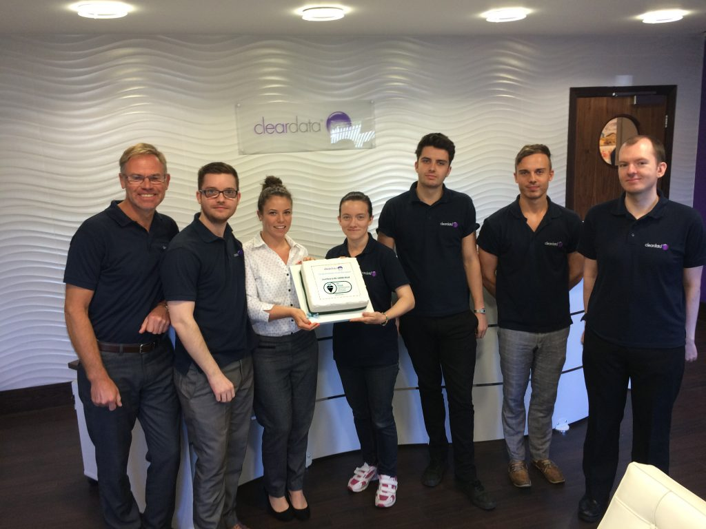 Cleardata Team Celebrate BS 10008 Certification